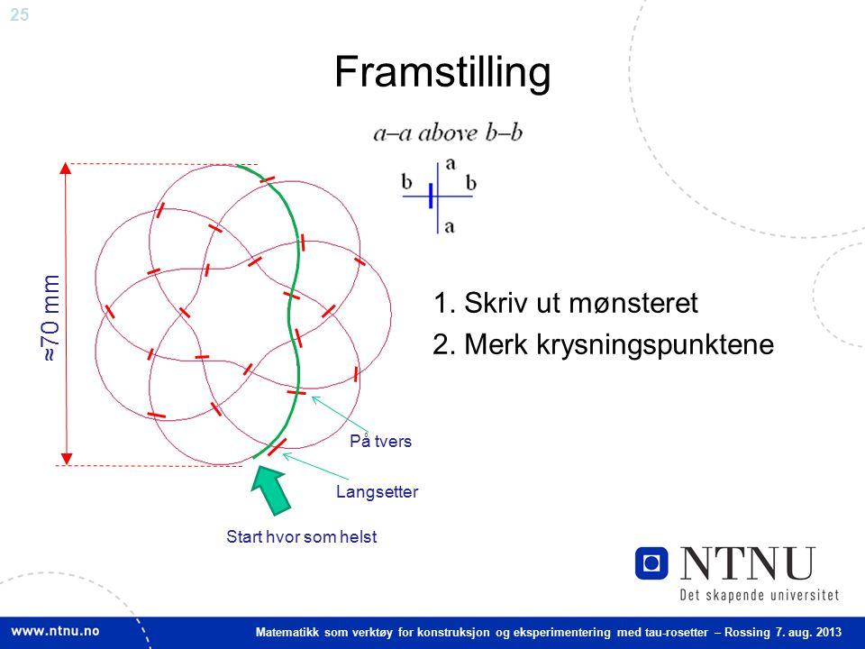 25 Matematikk som verktøy for konstruksjon og eksperimentering med tau-rosetter – Rossing 7. aug. 2013 Framstilling 1. Skriv ut mønsteret 2. Merk krys