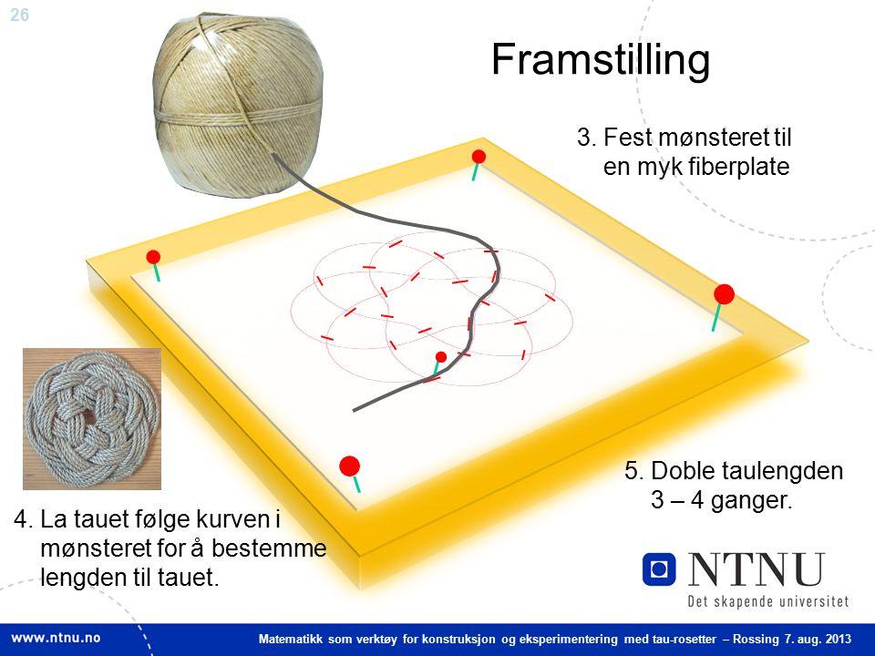 26 Matematikk som verktøy for konstruksjon og eksperimentering med tau-rosetter – Rossing 7. aug. 2013 Framstilling 3. Fest mønsteret til en myk fiber