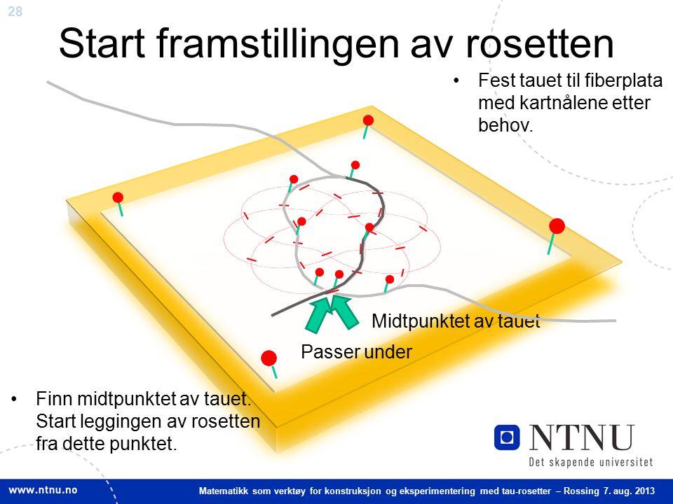 28 Matematikk som verktøy for konstruksjon og eksperimentering med tau-rosetter – Rossing 7. aug. 2013 Start framstillingen av rosetten Finn midtpunkt