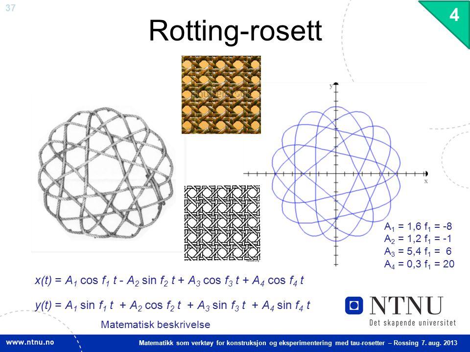 37 Matematikk som verktøy for konstruksjon og eksperimentering med tau-rosetter – Rossing 7. aug. 2013 Rotting-rosett 4 x(t) = A 1 cos f 1 t - A 2 sin
