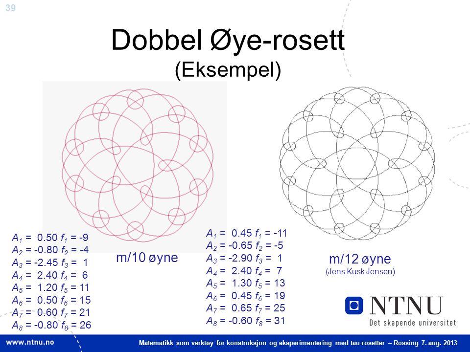 39 Matematikk som verktøy for konstruksjon og eksperimentering med tau-rosetter – Rossing 7. aug. 2013 A 1 = 0.45 f 1 = -11 A 2 = -0.65 f 2 = -5 A 3 =