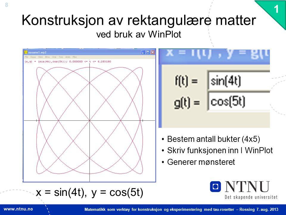 8 Matematikk som verktøy for konstruksjon og eksperimentering med tau-rosetter – Rossing 7. aug. 2013 Konstruksjon av rektangulære matter ved bruk av