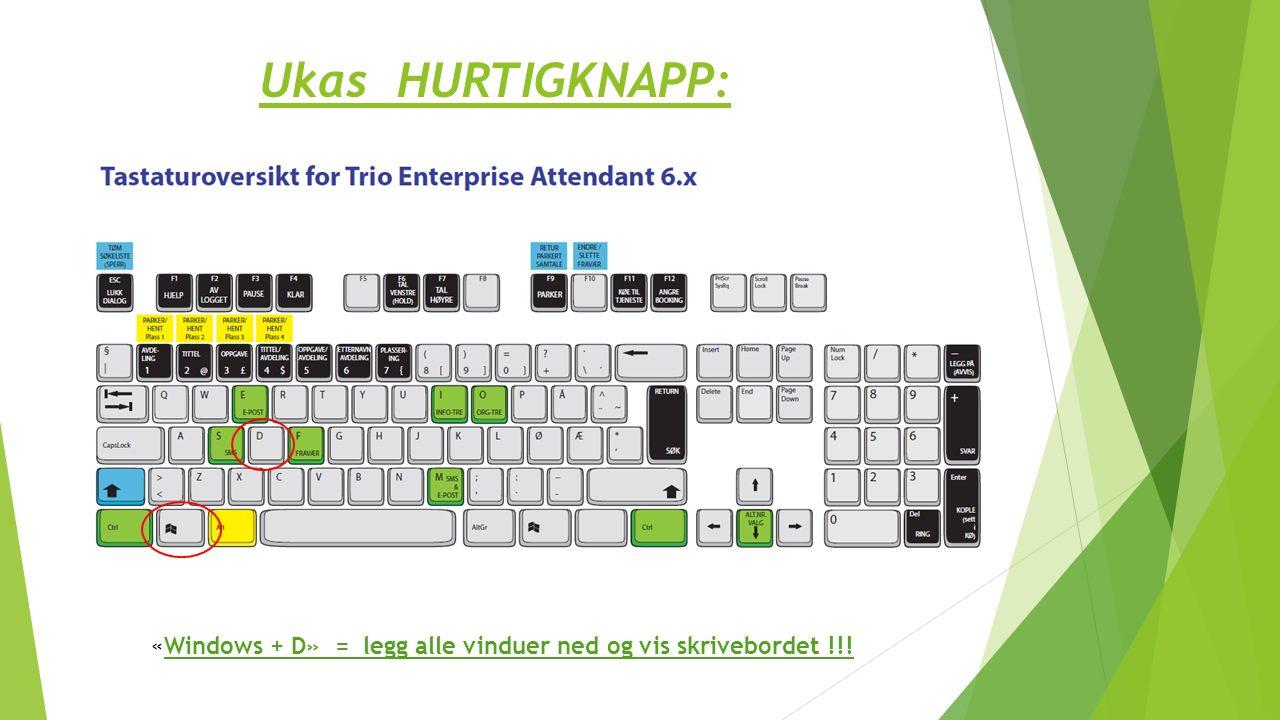 Ukas HURTIGKNAPP: «Windows + D» = legg alle vinduer ned og vis skrivebordet !!!