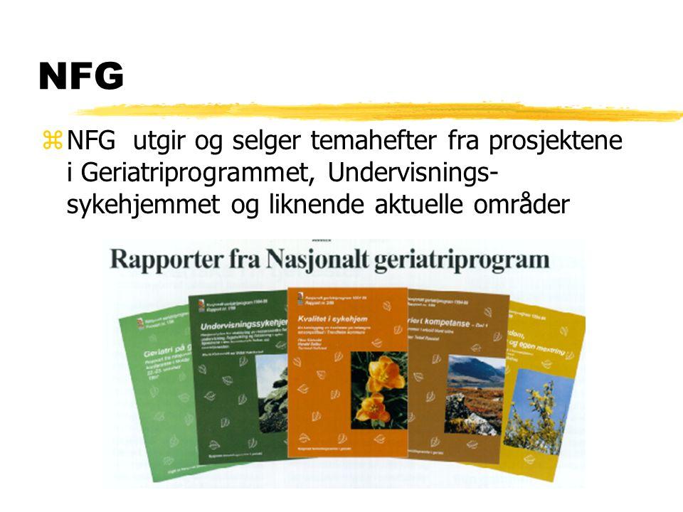 NFG zNFG utgir og selger temahefter fra prosjektene i Geriatriprogrammet, Undervisnings- sykehjemmet og liknende aktuelle områder