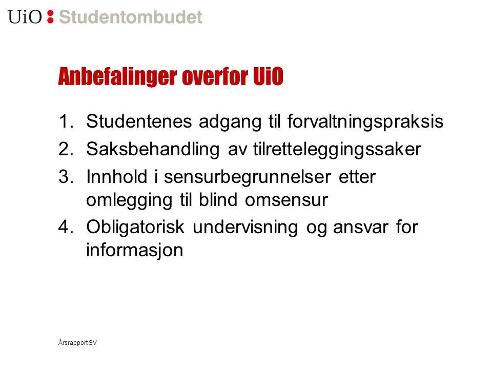 Anbefalinger overfor UiO 1.Studentenes adgang til forvaltningspraksis 2.Saksbehandling av tilretteleggingssaker 3.Innhold i sensurbegrunnelser etter o