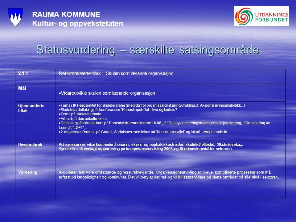 RAUMA KOMMUNE Kultur- og oppvekstetaten Statusvurdering – særskilte satsingsområde 2.1.1Reformrelaterte tiltak – Skulen som lærande organisasjon Mål  Vidareutvikle skulen som lærande organisasjon Gjennomførte tiltak  Tema i IKT-prosjektet for skuleleiarane (metodar for organisasjonslæring/utvikling, jf.