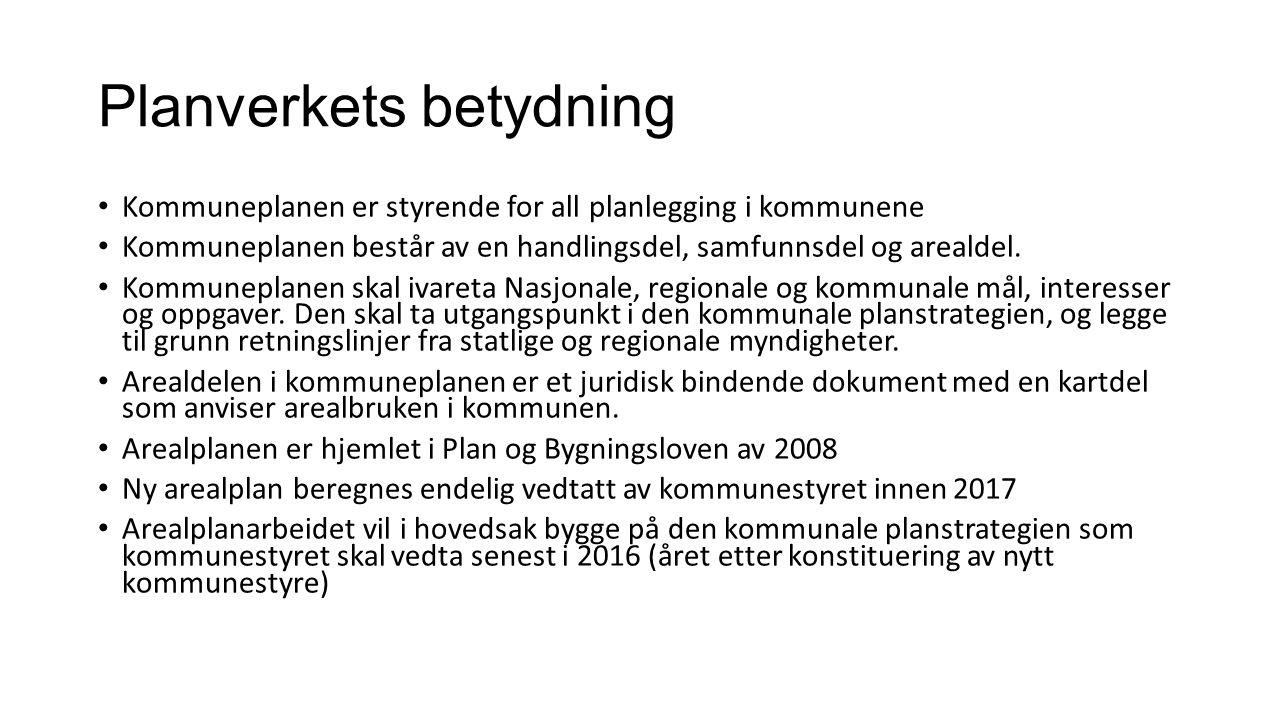 Planverkets betydning Kommuneplanen er styrende for all planlegging i kommunene Kommuneplanen består av en handlingsdel, samfunnsdel og arealdel.