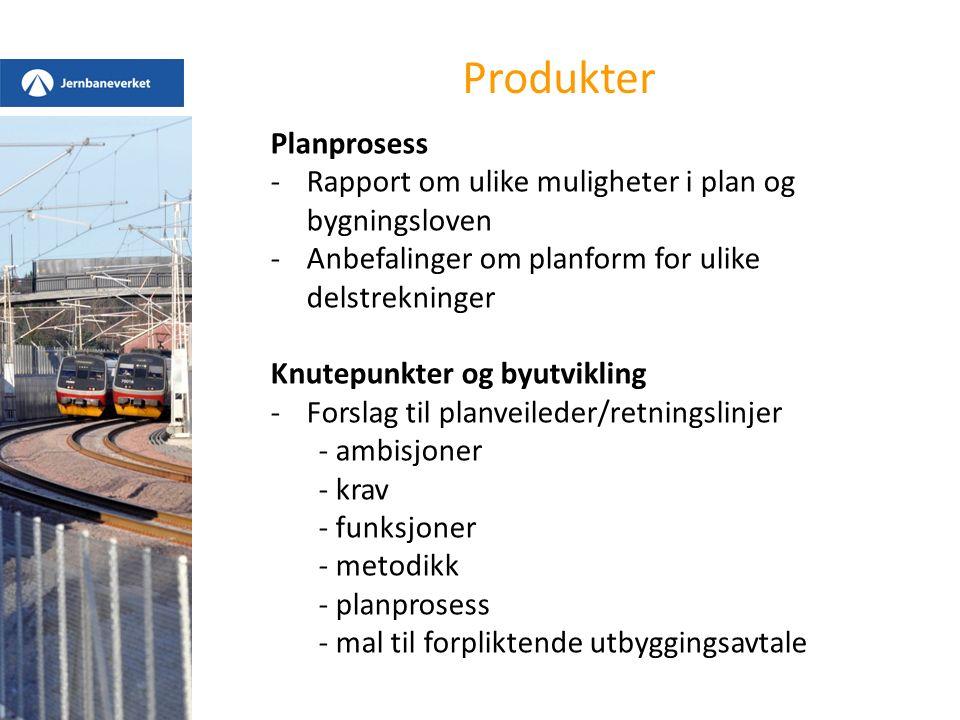Produkter Planprosess -Rapport om ulike muligheter i plan og bygningsloven -Anbefalinger om planform for ulike delstrekninger Knutepunkter og byutvikl