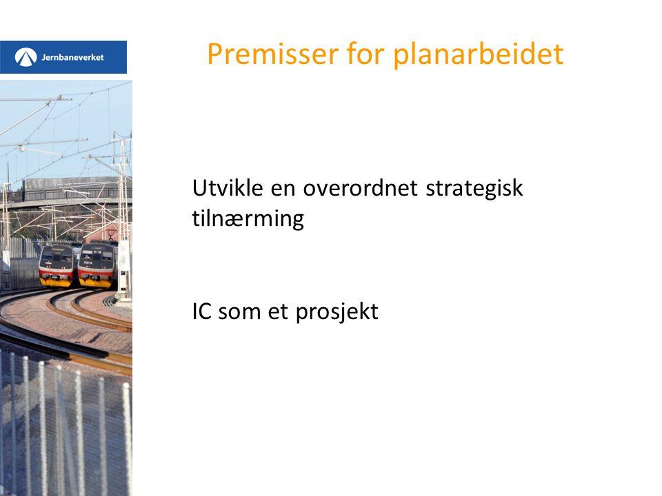 Premisser for planarbeidet Utvikle en overordnet strategisk tilnærming IC som et prosjekt