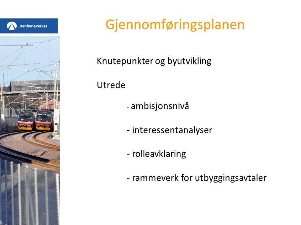 Gjennomføringsplanen Knutepunkter og byutvikling Utrede - ambisjonsnivå - interessentanalyser - rolleavklaring - rammeverk for utbyggingsavtaler