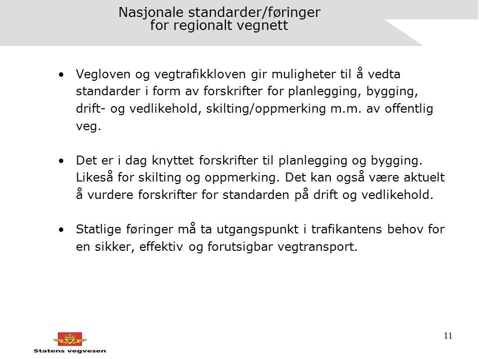 11 Nasjonale standarder/føringer for regionalt vegnett Vegloven og vegtrafikkloven gir muligheter til å vedta standarder i form av forskrifter for pla
