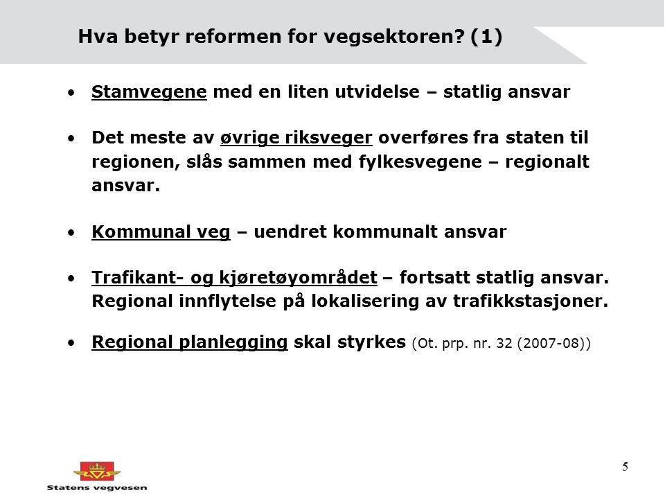 5 Hva betyr reformen for vegsektoren? (1) Stamvegene med en liten utvidelse – statlig ansvar Det meste av øvrige riksveger overføres fra staten til re