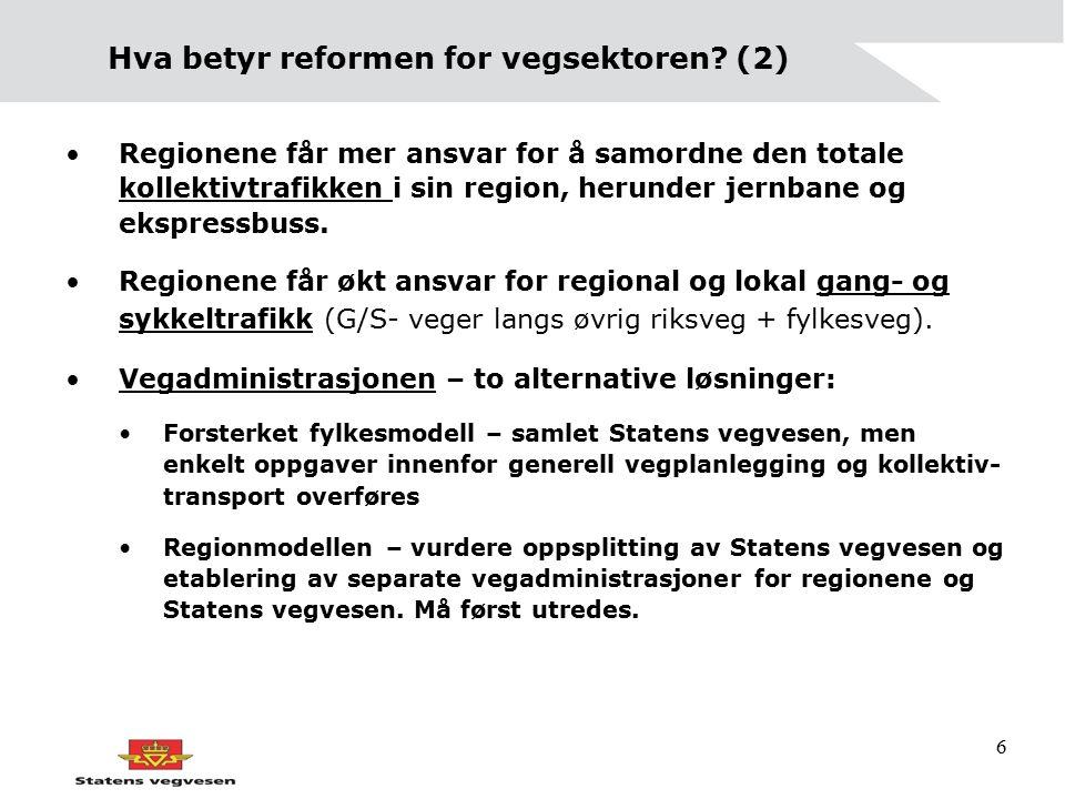 6 Hva betyr reformen for vegsektoren? (2) Regionene får mer ansvar for å samordne den totale kollektivtrafikken i sin region, herunder jernbane og eks