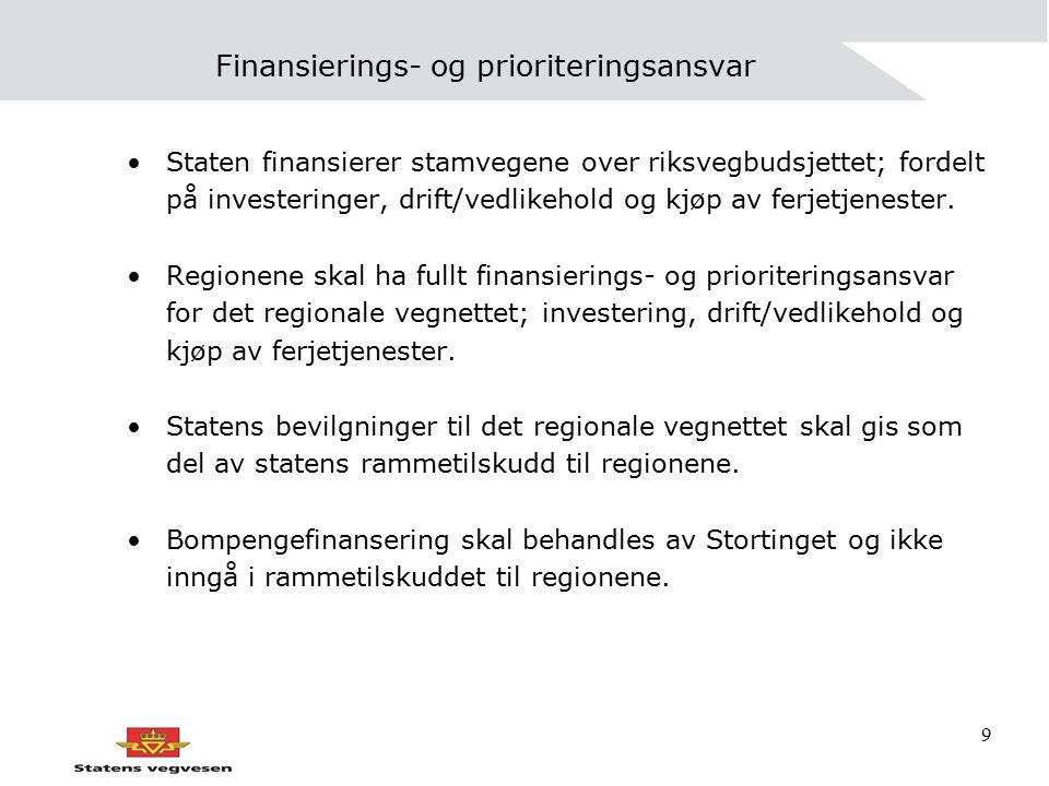 9 Finansierings- og prioriteringsansvar Staten finansierer stamvegene over riksvegbudsjettet; fordelt på investeringer, drift/vedlikehold og kjøp av f