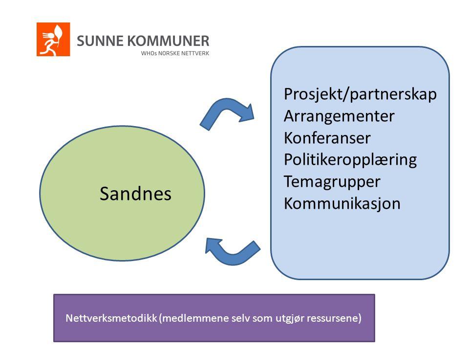Prosjekt/partnerskap Arrangementer Konferanser Politikeropplæring Temagrupper Kommunikasjon Sandnes Nettverksmetodikk (medlemmene selv som utgjør ress