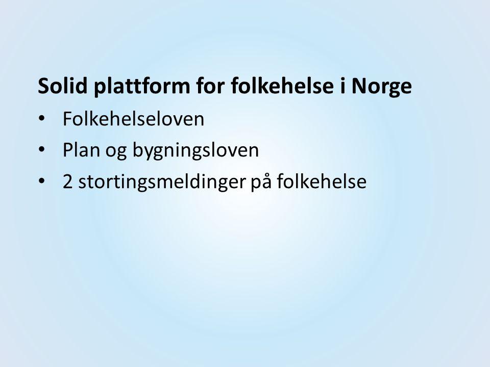 Solid plattform for folkehelse i Norge Folkehelseloven Plan og bygningsloven 2 stortingsmeldinger på folkehelse