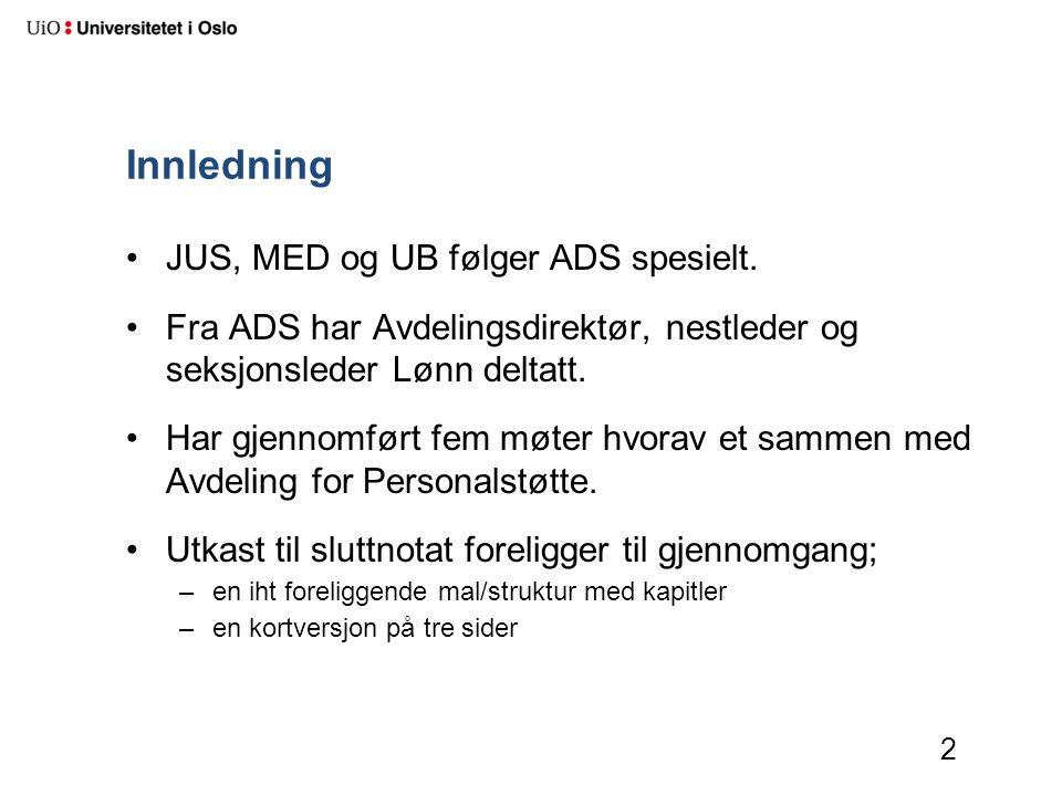 Innledning JUS, MED og UB følger ADS spesielt. Fra ADS har Avdelingsdirektør, nestleder og seksjonsleder Lønn deltatt. Har gjennomført fem møter hvora