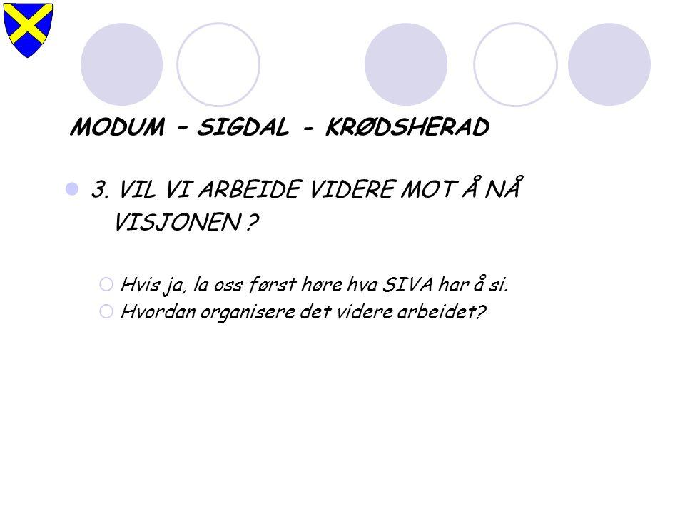 MODUM – SIGDAL - KRØDSHERAD 3. VIL VI ARBEIDE VIDERE MOT Å NÅ VISJONEN .