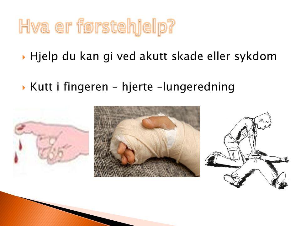  Hjelp du kan gi ved akutt skade eller sykdom  Kutt i fingeren – hjerte –lungeredning