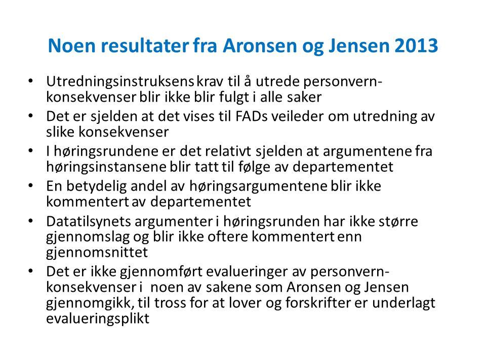 Noen resultater fra Aronsen og Jensen 2013 Utredningsinstruksens krav til å utrede personvern- konsekvenser blir ikke blir fulgt i alle saker Det er s