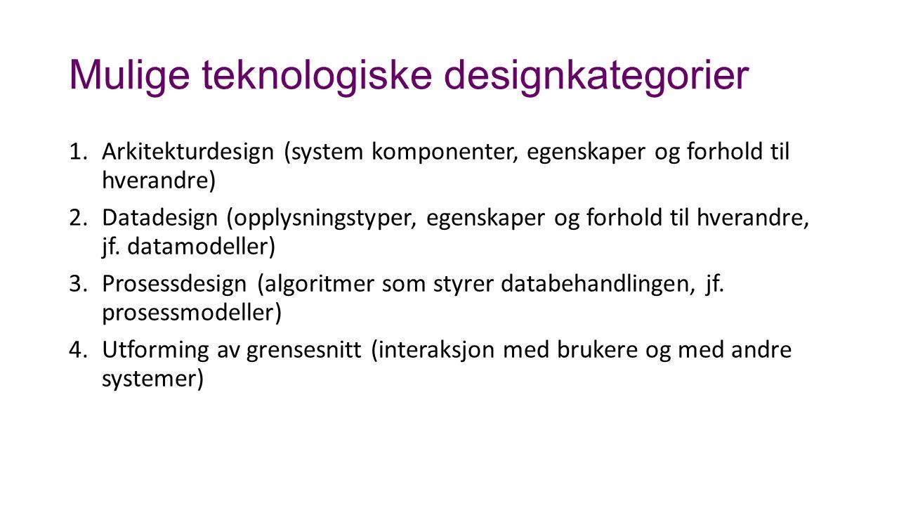 Mulige teknologiske designkategorier 1.Arkitekturdesign (system komponenter, egenskaper og forhold til hverandre) 2.Datadesign (opplysningstyper, egenskaper og forhold til hverandre, jf.