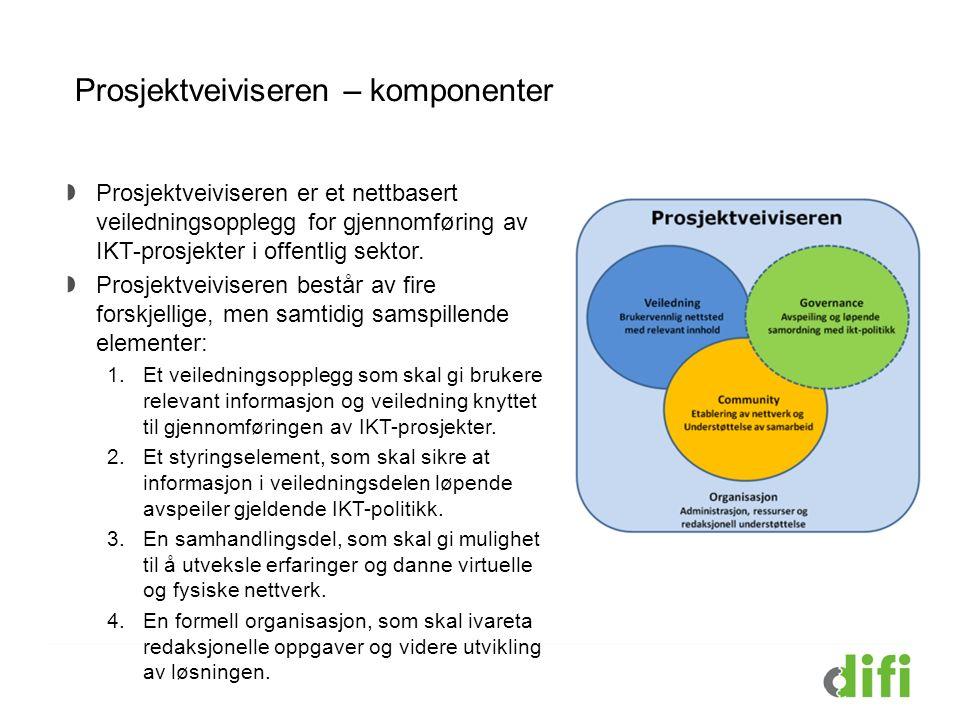 Prosjektveiviseren – komponenter Prosjektveiviseren er et nettbasert veiledningsopplegg for gjennomføring av IKT-prosjekter i offentlig sektor.