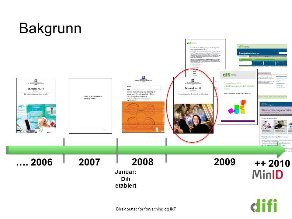 Januar: Difi etablert …. 2006 2007 20092008 ++ 2010 Direktoratet for forvaltning og IKT Bakgrunn