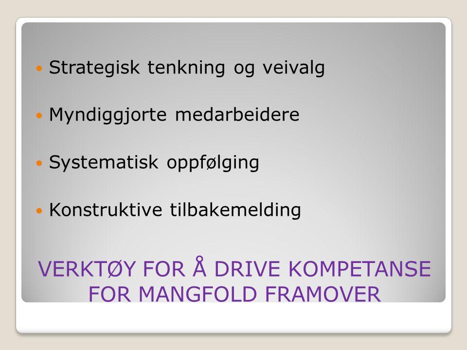 VERKTØY FOR Å DRIVE KOMPETANSE FOR MANGFOLD FRAMOVER Strategisk tenkning og veivalg Myndiggjorte medarbeidere Systematisk oppfølging Konstruktive tilbakemelding