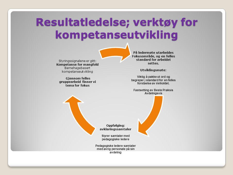 Resultatledelse; verktøy for kompetanseutvikling På ledermøte utarbeides Fokusområde, og en felles standard for arbeidet settes. Utviklingsmøte: Vikti