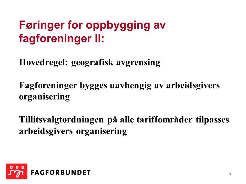 6 Hovedregel: geografisk avgrensing Fagforeninger bygges uavhengig av arbeidsgivers organisering Tillitsvalgtordningen på alle tariffområder tilpasses