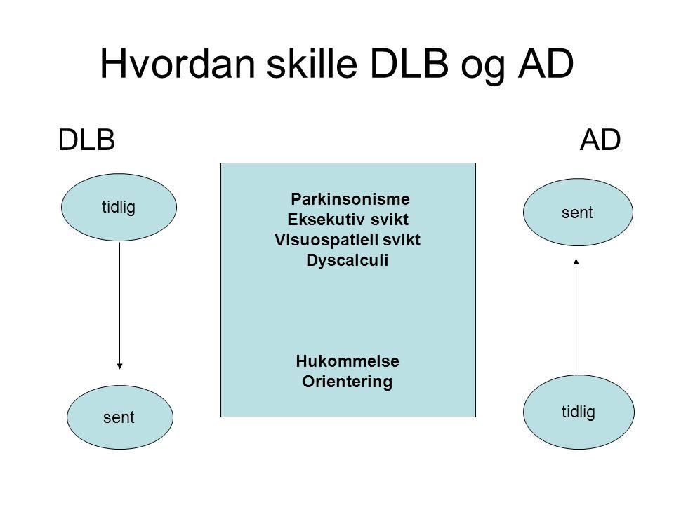 Hvordan skille DLB og AD DLBAD Parkinsonisme Eksekutiv svikt Visuospatiell svikt Dyscalculi Hukommelse Orientering tidlig sent tidlig