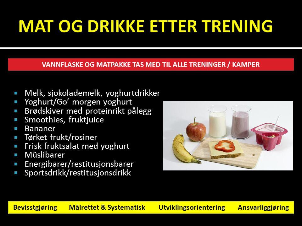  Melk, sjokolademelk, yoghurtdrikker  Yoghurt/Go' morgen yoghurt  Brødskiver med proteinrikt pålegg  Smoothies, fruktjuice  Bananer  Tørket fruk