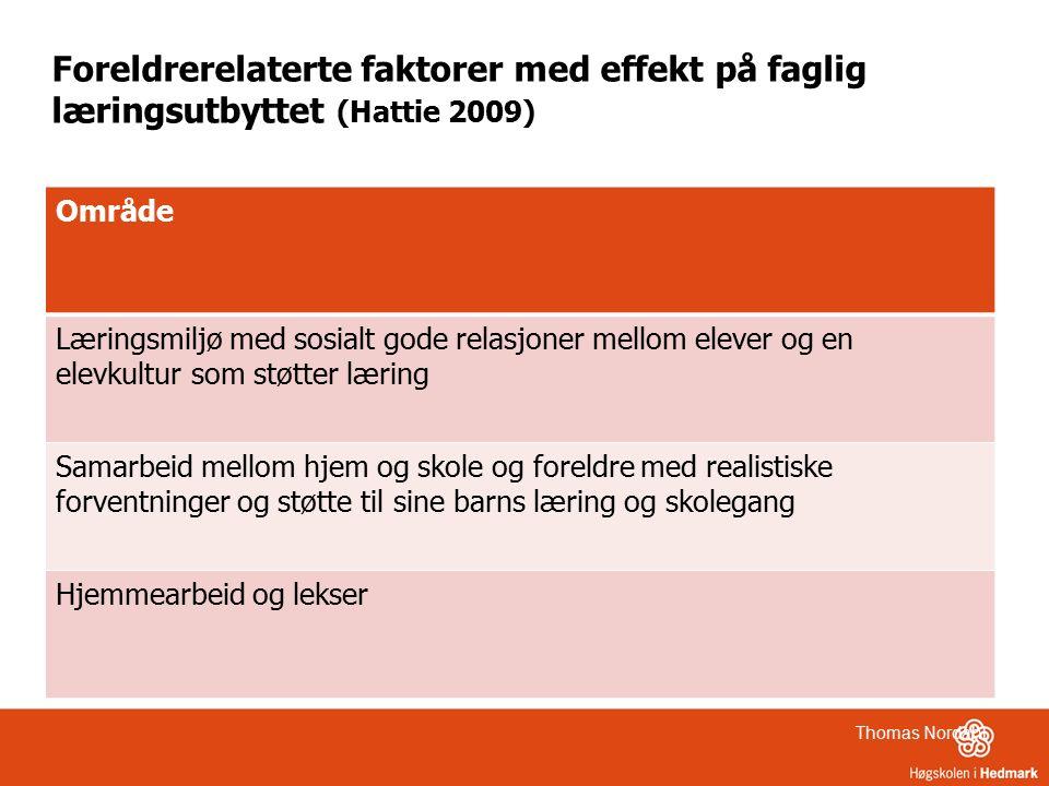 Foreldrerelaterte faktorer med effekt på faglig læringsutbyttet (Hattie 2009) Område Læringsmiljø med sosialt gode relasjoner mellom elever og en elev