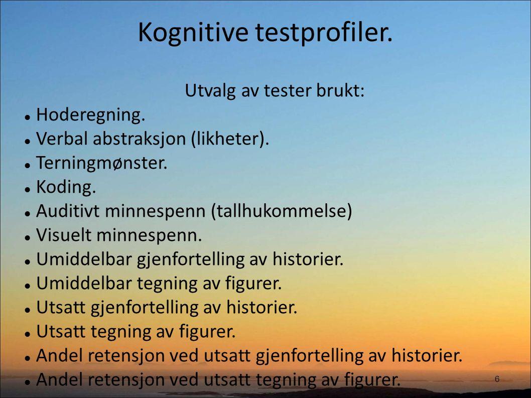 Kognitive testprofiler. 6 Utvalg av tester brukt: Hoderegning.