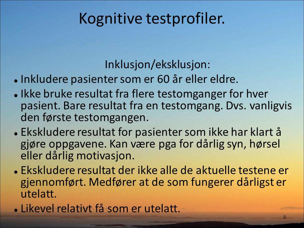 Kognitive testprofiler. 8 Inklusjon/eksklusjon: Inkludere pasienter som er 60 år eller eldre.