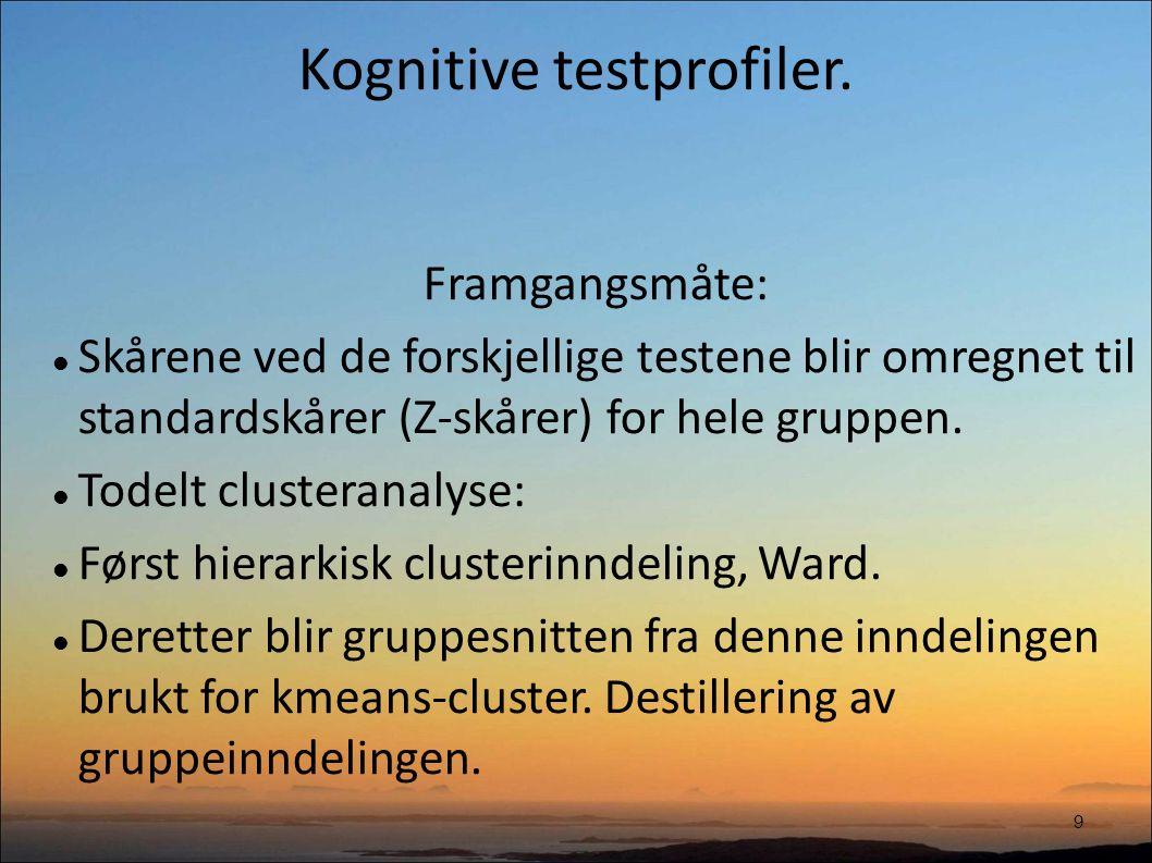 Kognitive testprofiler.10 Forutsetninger: Gruppetilordning bestemmes av antall grupper.