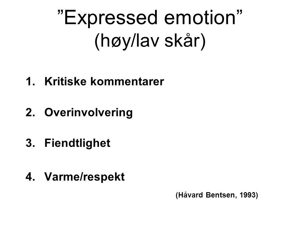 """Expressed emotion"" (høy/lav skår) 1.Kritiske kommentarer 2.Overinvolvering 3.Fiendtlighet 4.Varme/respekt (Håvard Bentsen, 1993)"