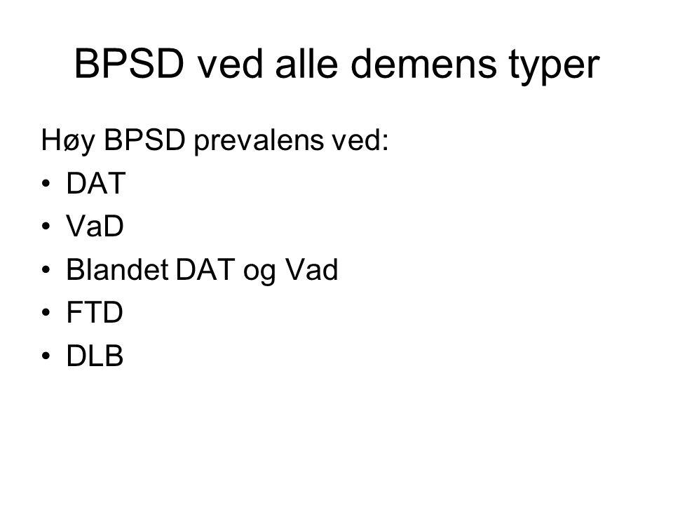 BPSD ved alle demens typer Høy BPSD prevalens ved: DAT VaD Blandet DAT og Vad FTD DLB