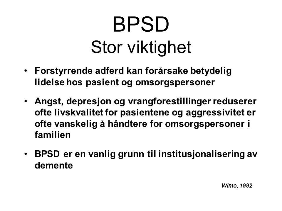 BPSD Stor viktighet Forstyrrende adferd kan forårsake betydelig lidelse hos pasient og omsorgspersoner Angst, depresjon og vrangforestillinger reduserer ofte livskvalitet for pasientene og aggressivitet er ofte vanskelig å håndtere for omsorgspersoner i familien BPSD er en vanlig grunn til institusjonalisering av demente Wimo, 1992