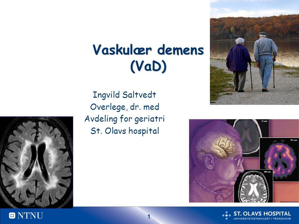 12 Subkortikal VaD – klinisk bilde Kognitiv svikt – Nedsatt psykomotorisk tempo, – Unormal eksekutiv fungering – Nedsatt hukommelse Nedsatt initiativ Personlighetsforandring Depresjon, angst, emosjonell labilitet Bulbære tegn (dysartri, dysfagi ) Gangvansker (hemiplegisk, ataktisk, småtrippende) Svimmelhet/balanseproblemer - fall Urin urgency, frequency Starter snikende og utvikler seg gradvis Ca 40% av de med vaskulær demens