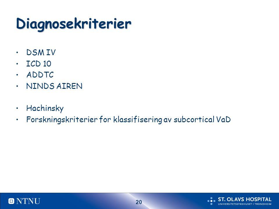 20 Diagnosekriterier DSM IV ICD 10 ADDTC NINDS AIREN Hachinsky Forskningskriterier for klassifisering av subcortical VaD