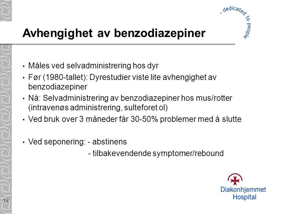 12 Avhengighet av benzodiazepiner Måles ved selvadministrering hos dyr Før (1980-tallet): Dyrestudier viste lite avhengighet av benzodiazepiner Nå: Se