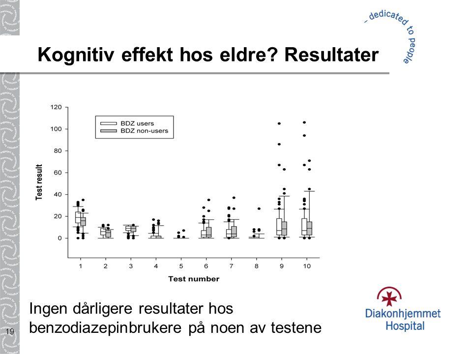 19 Kognitiv effekt hos eldre? Resultater Ingen dårligere resultater hos benzodiazepinbrukere på noen av testene