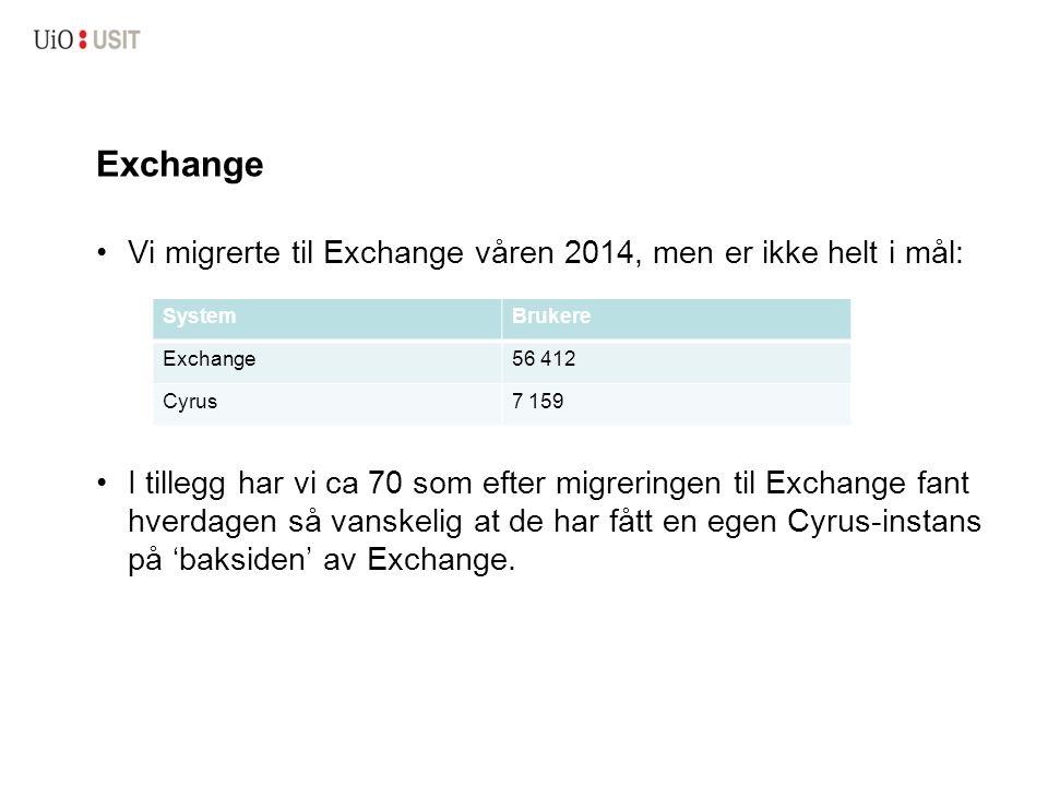 Exchange Vi migrerte til Exchange våren 2014, men er ikke helt i mål: I tillegg har vi ca 70 som efter migreringen til Exchange fant hverdagen så vanskelig at de har fått en egen Cyrus-instans på 'baksiden' av Exchange.