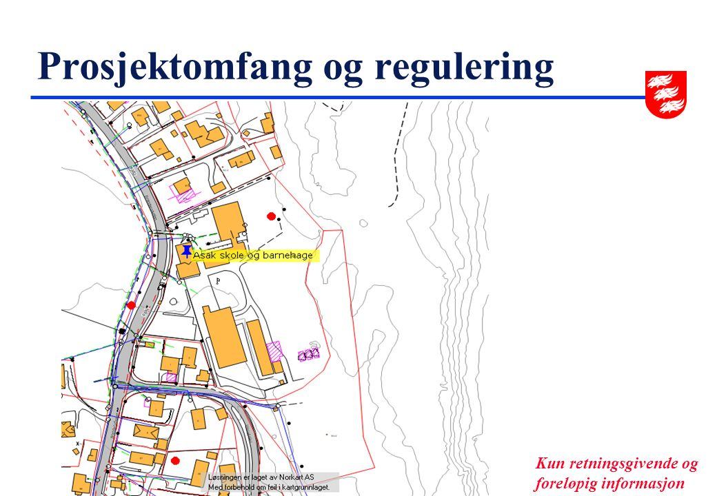 Prosjektomfang og regulering u Prosjektomfang  Skole  Barnehage  Svømmehall  Bevaringsverdig bygning u Regulering Kun retningsgivende og foreløpig informasjon