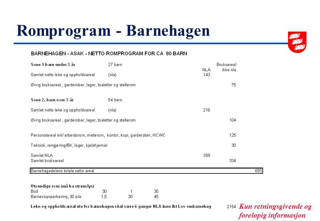 Romprogram - Barnehagen Kun retningsgivende og foreløpig informasjon