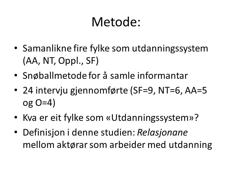 Metode: Samanlikne fire fylke som utdanningssystem (AA, NT, Oppl., SF) Snøballmetode for å samle informantar 24 intervju gjennomførte (SF=9, NT=6, AA=5 og O=4) Kva er eit fylke som «Utdanningssystem».