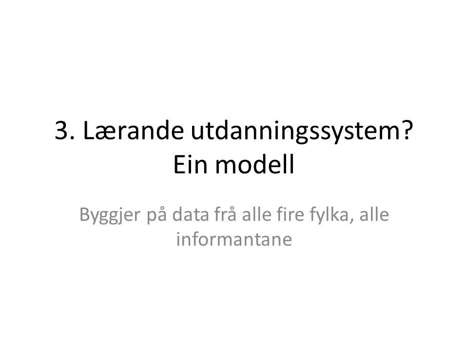 3. Lærande utdanningssystem Ein modell Byggjer på data frå alle fire fylka, alle informantane
