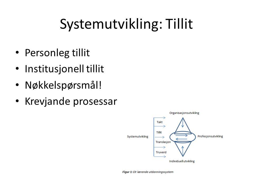 Systemutvikling: Tillit Personleg tillit Institusjonell tillit Nøkkelspørsmål! Krevjande prosessar