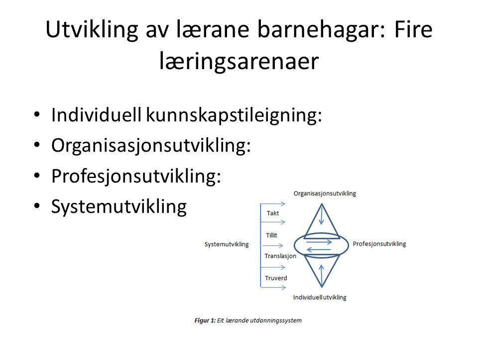Utvikling av lærane barnehagar: Fire læringsarenaer Individuell kunnskapstileigning: Organisasjonsutvikling: Profesjonsutvikling: Systemutvikling:
